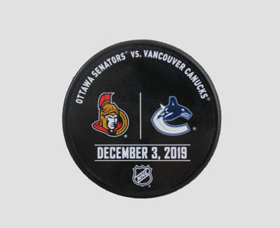 Vancouver Canucks VS. Ottawa Senators Warm Up Puck- December 3rd, 2019