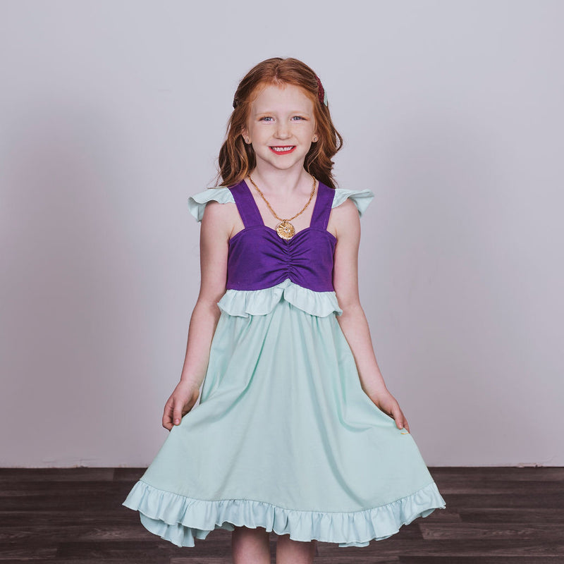 Ariel Inspired Cotton Twirl Dress