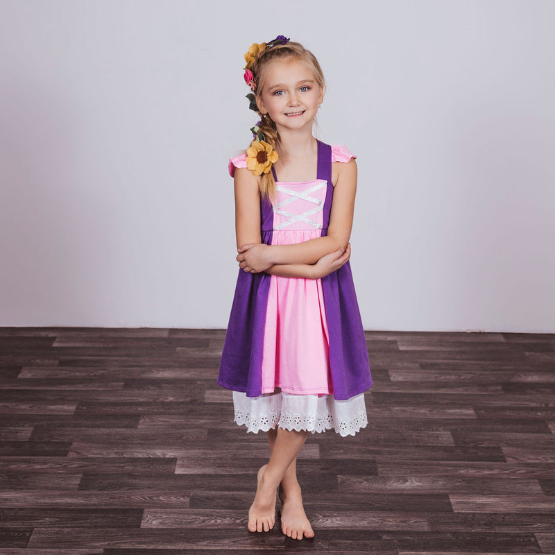Rapunzel Inspired Cotton Twirl Dress