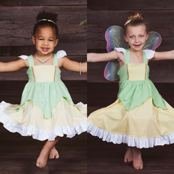 Tiana/Tinkerbell Inspired Cotton Twirl Dress