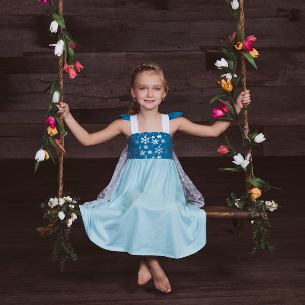 Elsa Inspired Cotton Twirl Dress