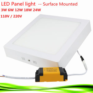 Square, Surface-Mounted Led Panel Light in 3W, 6W, 12W, 18W, 24W in warm and bright white
