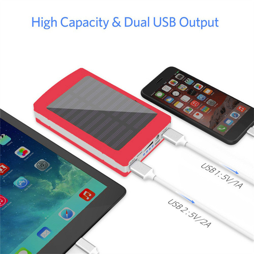 Solar Charging, Dual-USB Power Bank & LED