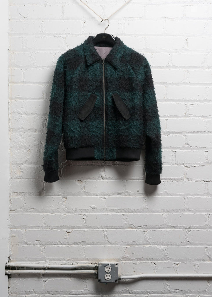 HARRINGTON JACKET IN GREEN BLACK WOOL (PRE ORDER)