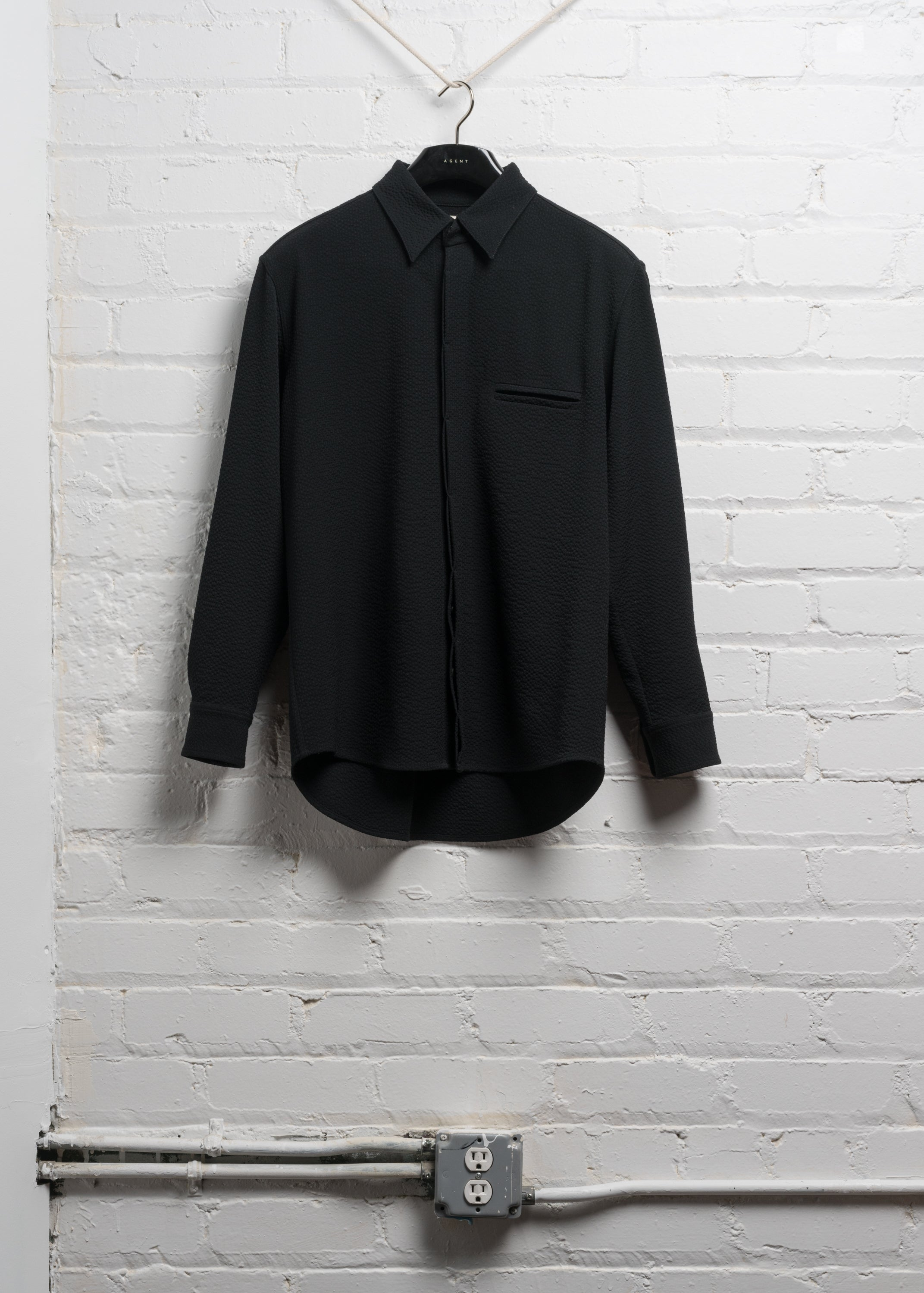 BOX SHIRT IN BLACK WOOL