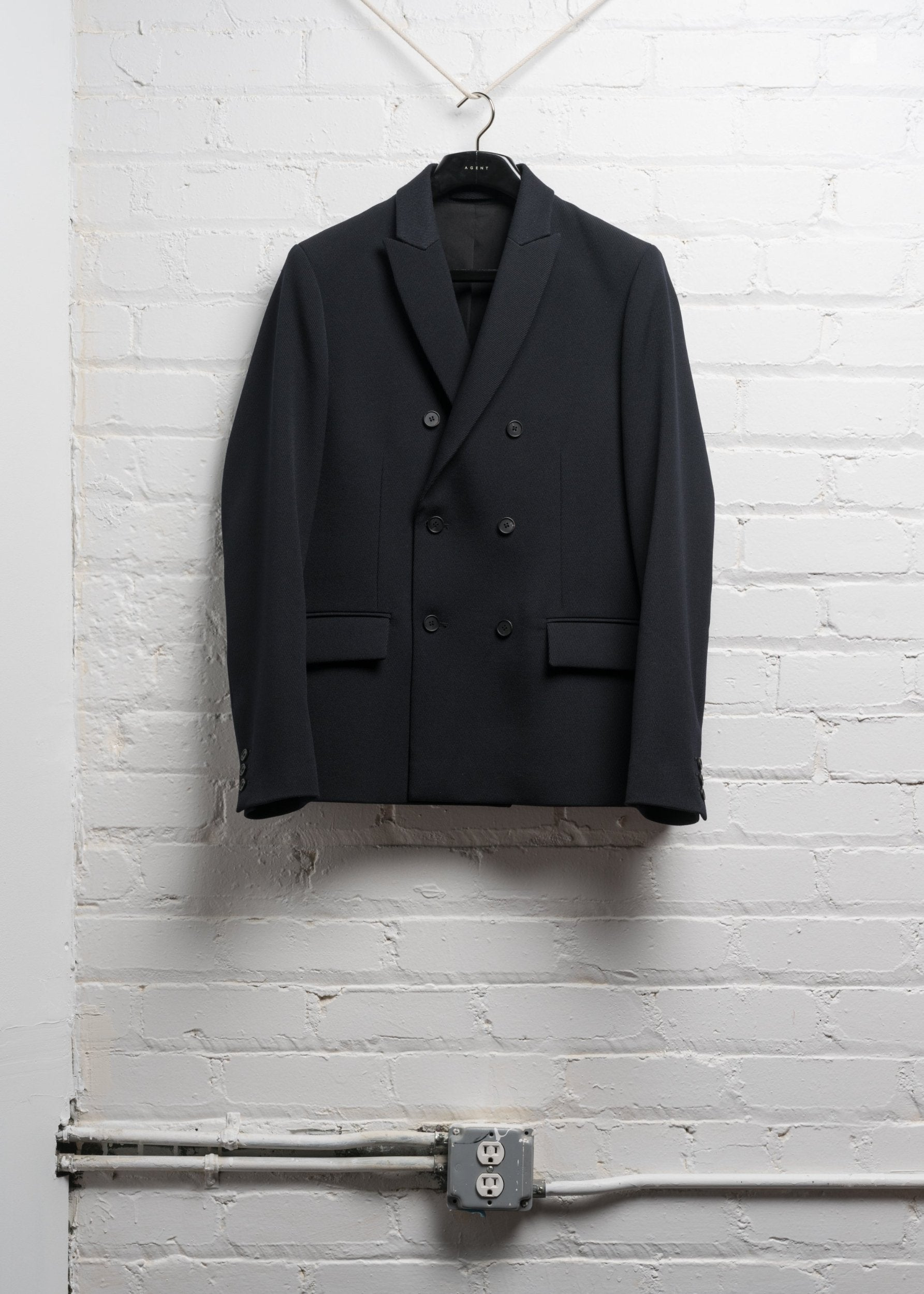 DOUBLE BREASTED WOOL JACKET IN HEAVY NAVY TWILL