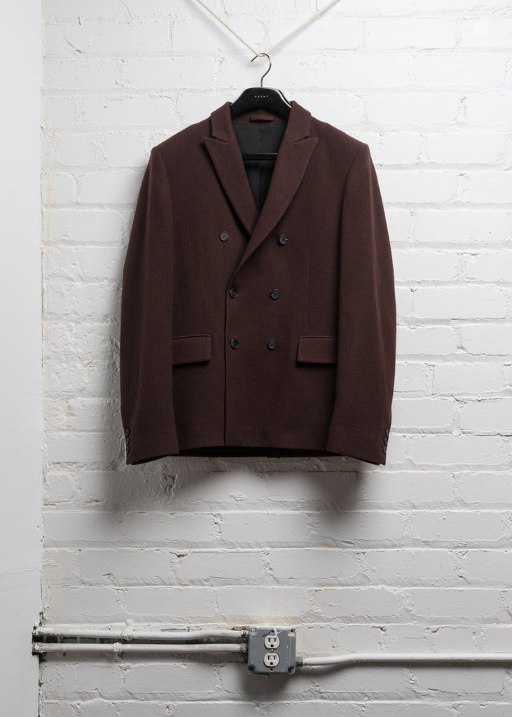 DOUBLE BREASTED WOOL JACKET IN BORDEAUX BRUSHED TWILL (PRE ORDER)