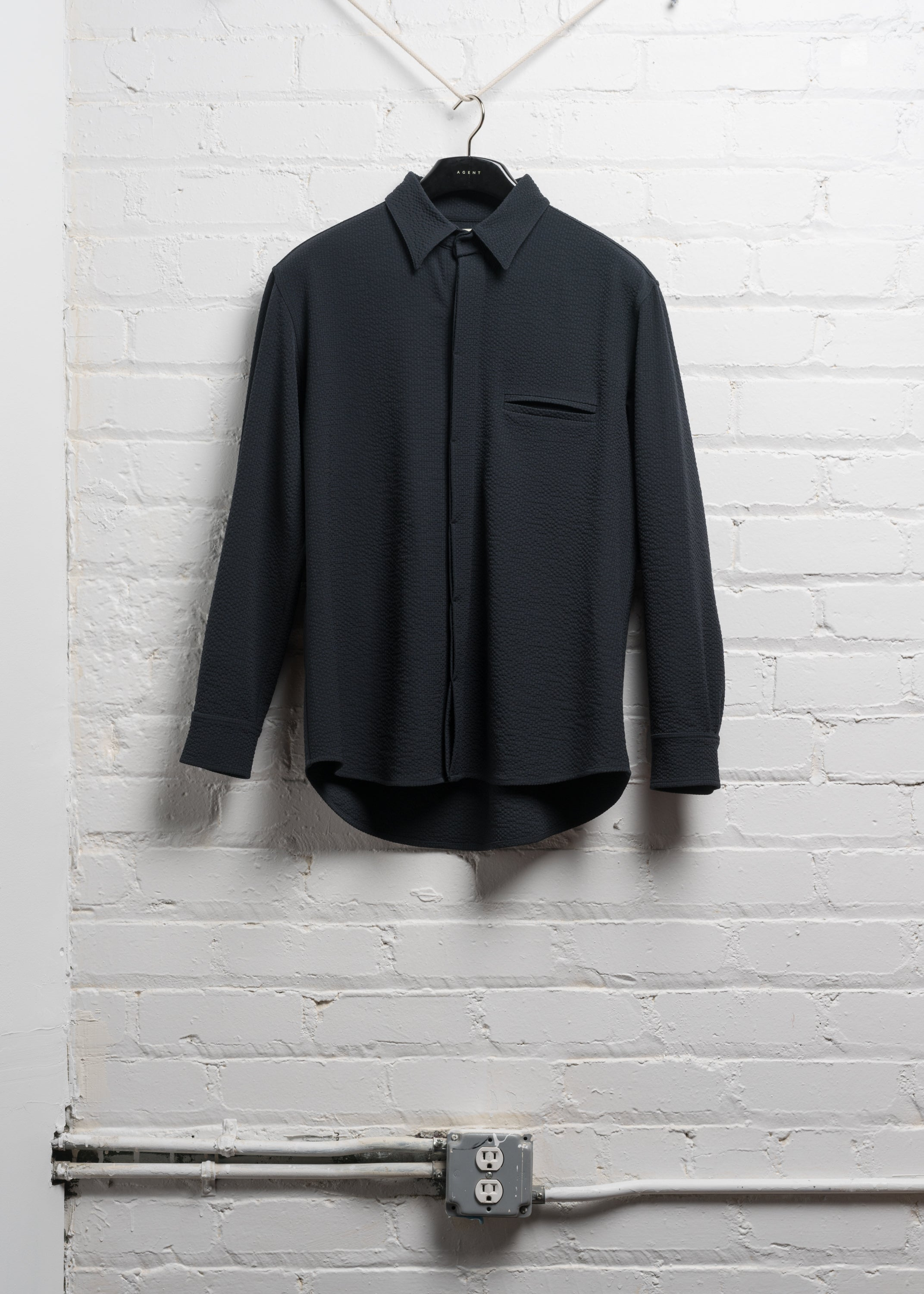 BOX SHIRT IN NAVY WOOL