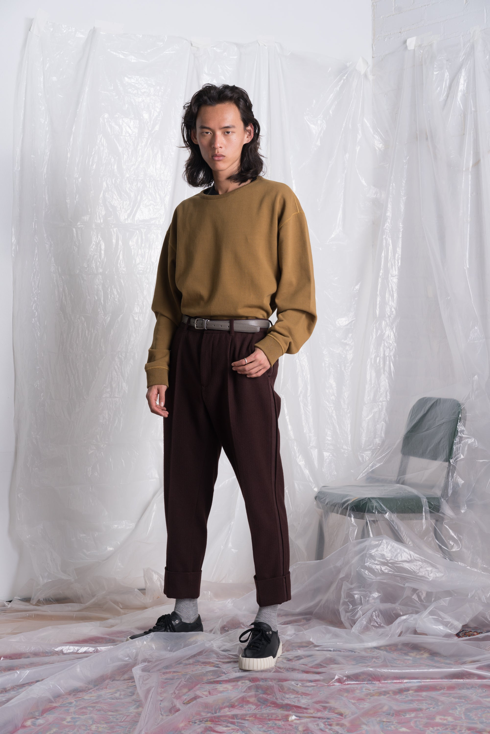 OVERSIZED CREW NECK SWEATER IN HASHISH BROWN  (PRE ORDER)