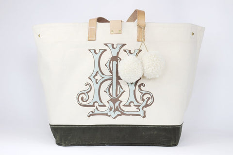 Stain resistant bag, natural 2-wax canvas with color accent, custom monogram, 16W by 11.5D by 16.5T