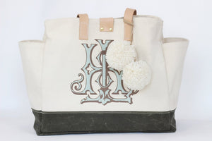 Stain resistant bag, natural 2-wax canvas with color accent, custom monogram, 15.5W by 6.5D by 13T