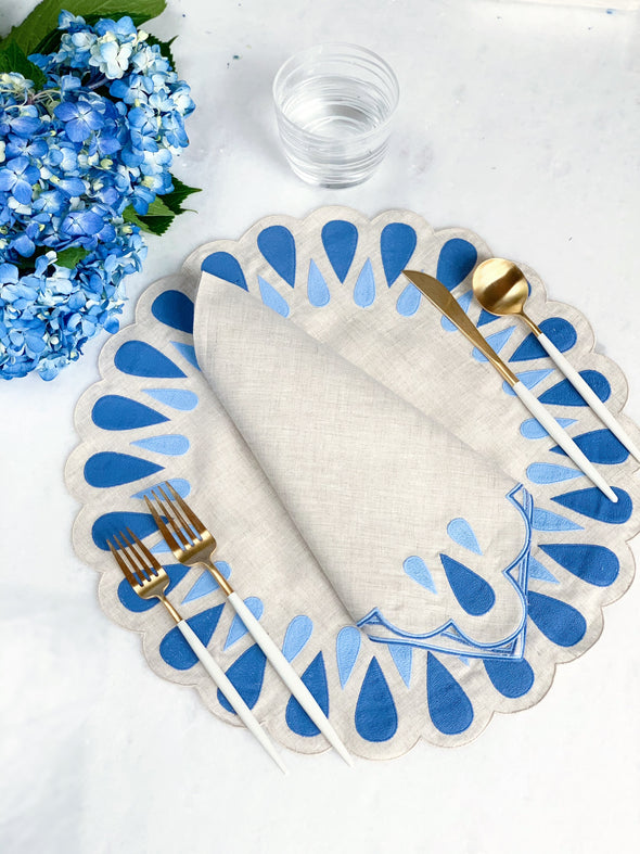 Blue and Natural Linen Placemats and Dinner Napkins
