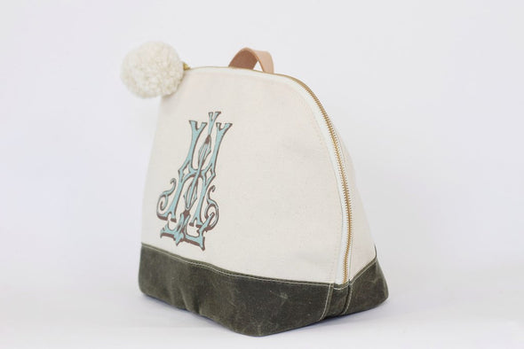 Stain resistant bag, natural 2-wax canvas with color accent, custom monogram, 10.5W by 7D by 10.75T