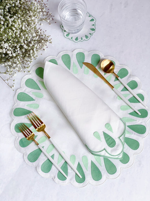 Sage and Mint Linen Placemats and Dinner Napkins
