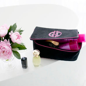 Ellis Hill Beth Case, in linen or plastic-coated cotton, with monogram, 10W by 6D by 4T