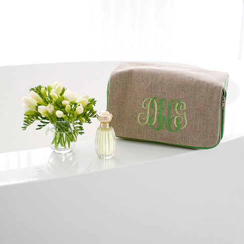 Beth Case, in linen or plastic-coated cotton, custom monogram, 10W by 6D by 4T