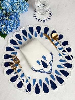 Navy and Cerulean Linen Placemats and Dinner Napkins