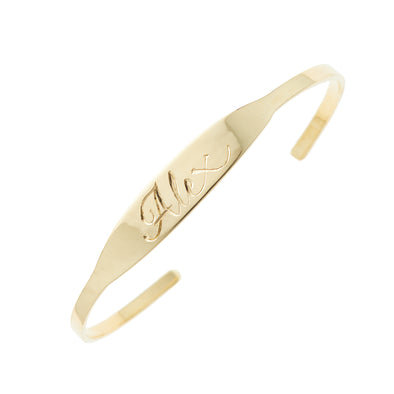 Ellis Hill Cherish cuff bracelet, available in 14K white, yellow, or rose gold, monogram