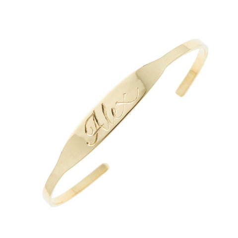 Cherish cuff bracelet, available in 14K white, yellow, or rose gold, custom monogram