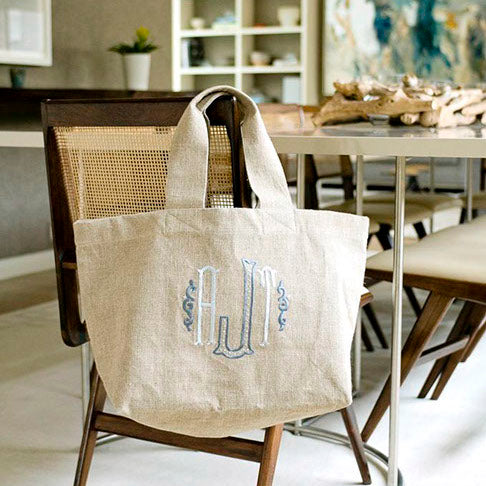 Ellis Hill Clinton Market Tote, textured linen or plastic coated cotton, with monogram, 20W by 13D by 7T