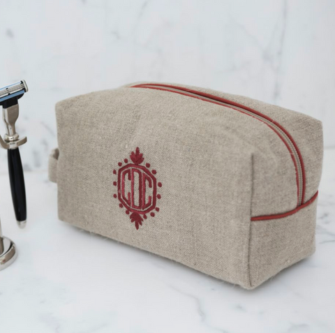Ellis Hill dopp Kit, in linen or plastic-coated cotton, with monogram, 11 in. by 9.5 in.