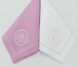 Ellis Hill Picot Trim Linen Dinner Napkin with Monogram