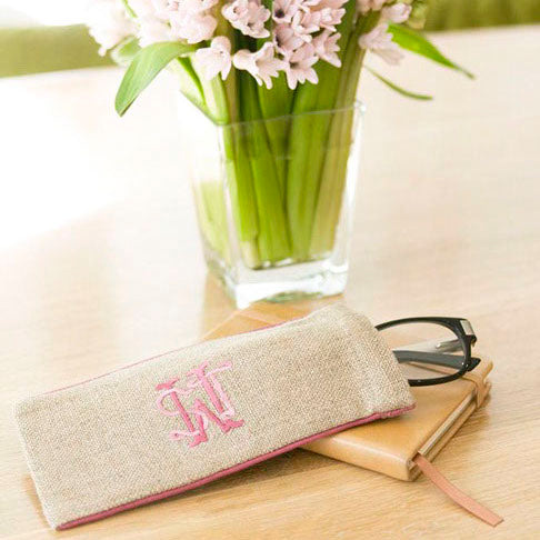 Ellis Hill Eyeglass case, in linen or plastic-coated cotton, with monogram, 6.75 in. long by 3 in. wide