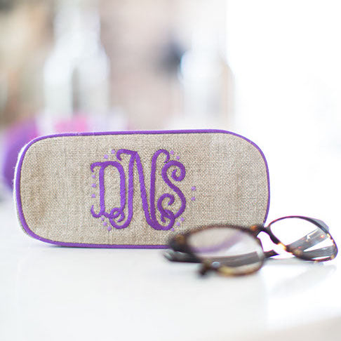 Eyeglass case, in linen or plastic-coated cotton, custom monogram, 6.75 in. long by 3 in. wide