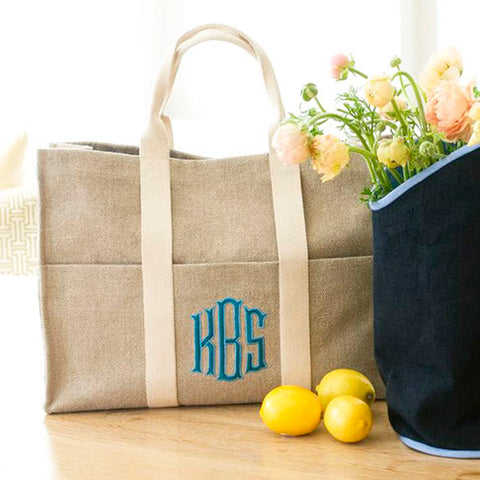Ellis Hill Fauborg Tote, in linen or plastic-coated cotton, with monogram, 18.5 in by 13.5 in