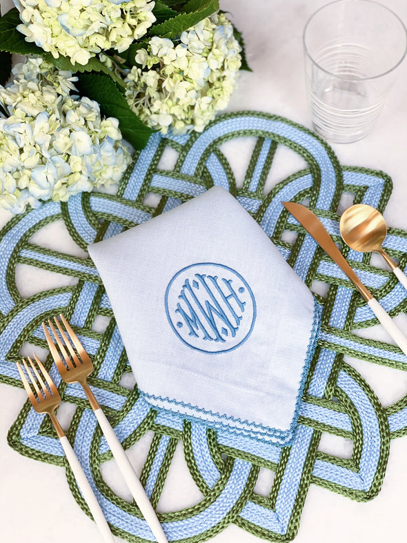 Olive and Cornflower Woven Placemats