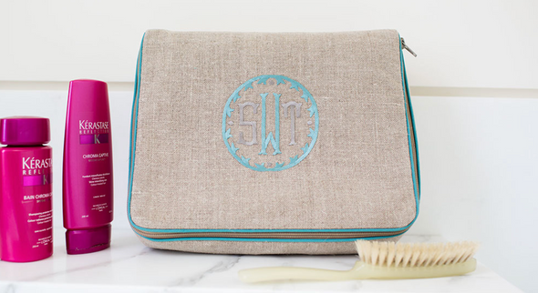 Kris Case, in linen or plastic-coated cotton, custom monogram, 11 in. by 9.5 in.