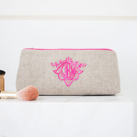 Ellis Hill large Pencil Case, in linen or plastic-coated cotton, with monogram, 9.5 in. by 4 in.