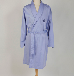 Men's unlined poplin robe, custom monogram