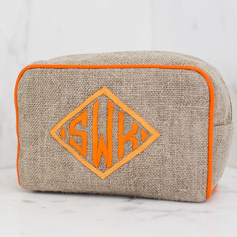Milan Small Case, in linen or plastic-coated cotton, custom monogram, 6 in. by 4 in.