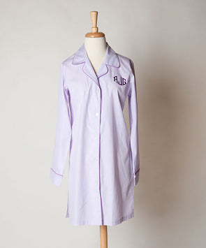 Ellis Hill women's poplin cotton, button-front nightshirt with monogram