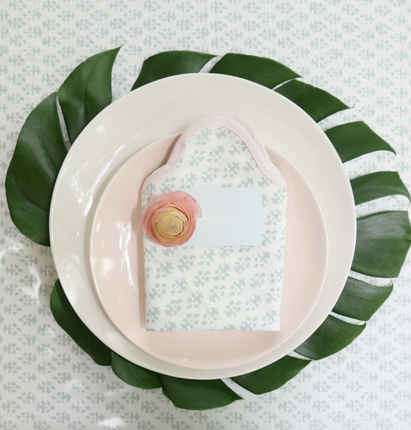 Batik Napkins Mint with Pink Trim