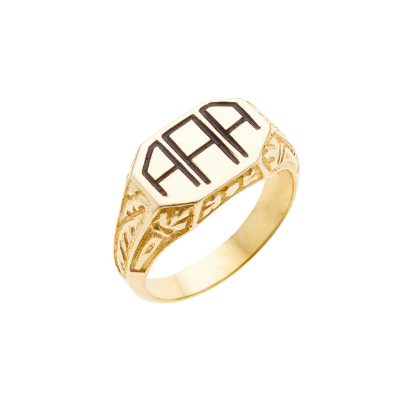Ellis Hill Sentry ring, available in 14K white, yellow, or rose gold, monogram