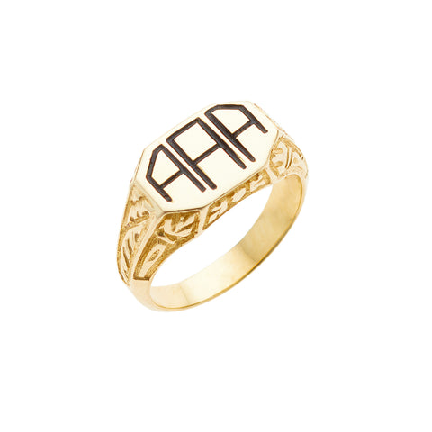Sentry small ring, available in 14K white, yellow, or rose gold, custom monogram up to three initials