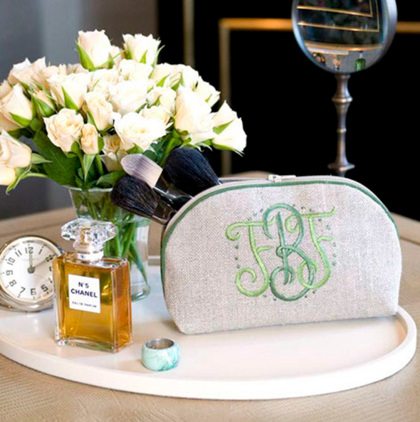 Small Round Zip, in linen or plastic-coated cotton, custom monogram, 7 in. x 4 in.