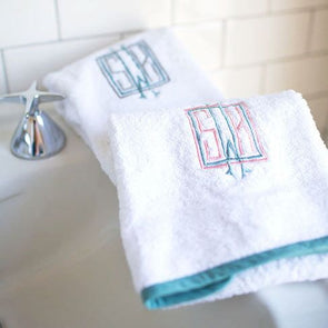 Ellis Hill Terry Hand Towel with Monogram and Straight Edge Piping