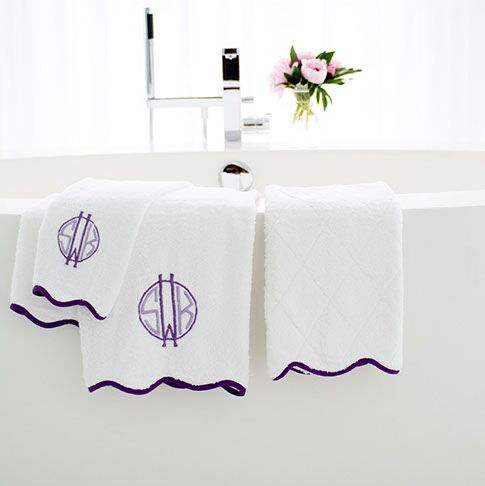 Ellis Hill Terry Bath Towels with Monogram and Scallop Piping