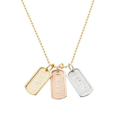 Tribe necklace, available in 14K white, yellow, or rose gold, custom monogram