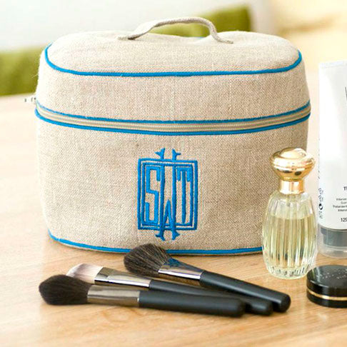 Ellis Hill Walton Handled Cosmetic Case, in linen or plastic-coated cotton, with monogram, 9 in. by 6.5 in.