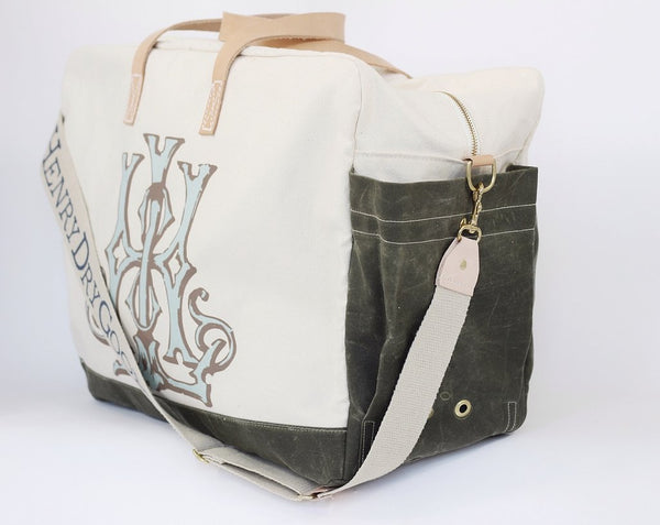 Stain resistant bag, natural 2-wax canvas with color accent, custom monogram, 22.5W by 9D by 16.5T