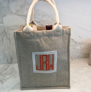 Handled 2-bottle wine bag, in linen or plastic-coated cotton, custom monogram, 9.5W by 4D by 11T