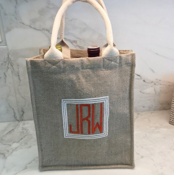 Ellis Hill 2-bottle wine bag with handle, in linen or plastic-coated cotton, with monogram, 9.5W by 4D by 11T