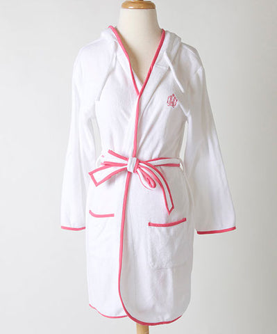 Ellis Hill women's hooded terry robe with piping and monogram