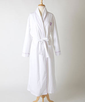 Ellis Hill women's long poplin robe with monogram