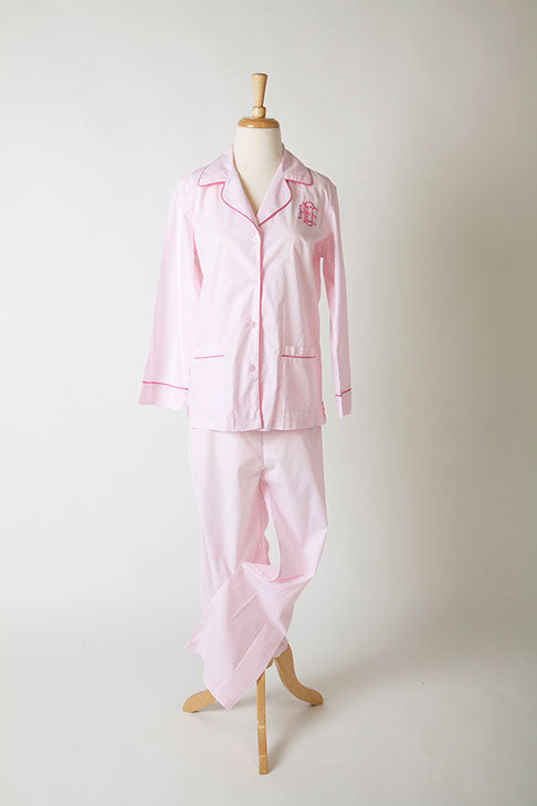 Poplin cotton long-sleeve pajama top and pants with monogram