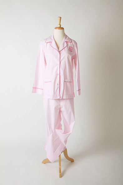 Ellis Hill poplin cotton, long-sleeve pajama top and pants with monogram